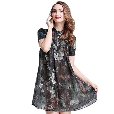 Cotyledon 2018 New Fashion Plus Size Dresses Short Sleeve Stand
