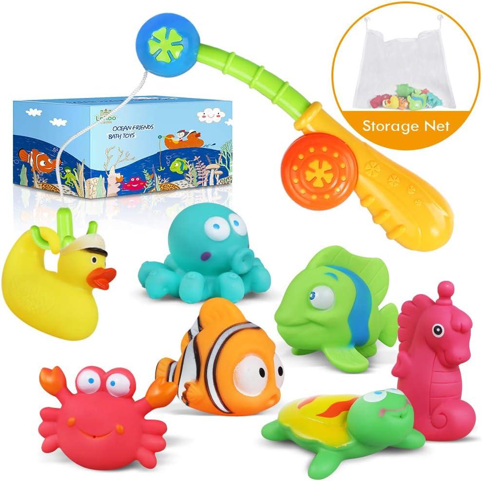 Lehoo Castle Juguetes de baño Bebe, Juguetes Bañera Flotante con Juegos de Pesca, Juguetes Piscina para Niño con Bolsa de Almacenamiento