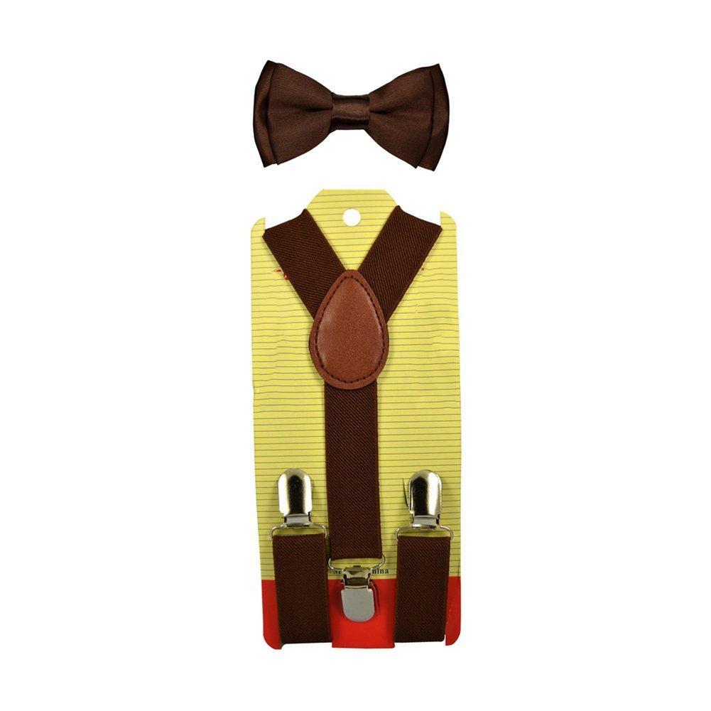 ChenRui Enfant Garçon Fille Ensemble Bretelles Réglables Nœud Papillon Cravate Elastique Accessoire Vêtements Pour Pantalon Chemise