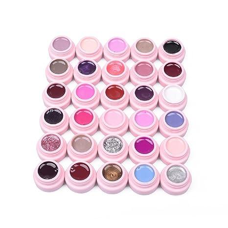Kit Esmaltes Semipermanentes 30 Colores Diferentes en Gel para Uñas Shellac Gelish de Manicura (5g