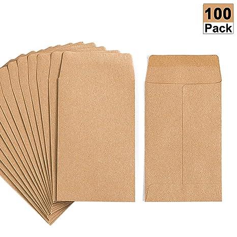 Amazon.com: Paquete de 100 sobres de papel kraft para ...