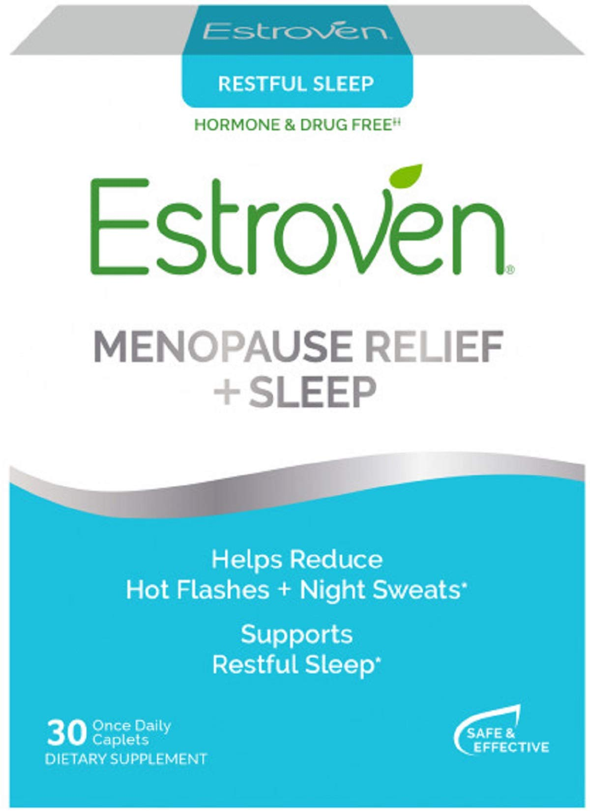 Estroven SLEEP COOL + CALM | Menopause Relief Dietary Supplement | Estrogen Free** | Helps Reduce Hot Flashes & Night Sweats* | 30 Caplets by Estroven