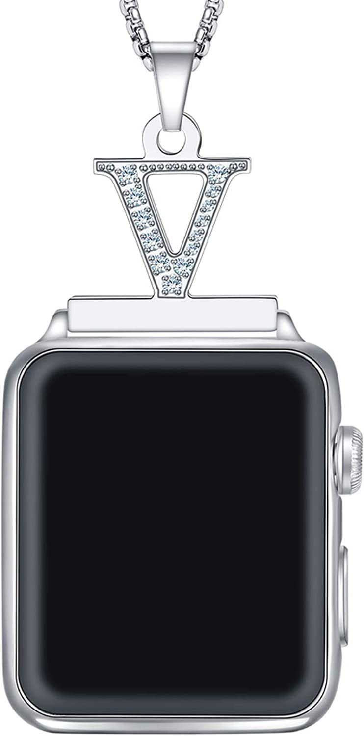 Callancity crystal diamond Alphabet Letter A-Z Necklace Pendant Watch Connector Adapter 2in1 Stainless Steel Platinum Plated Box Chain Compatible for Apple Watch Series 5/4/3/2/1 38mm 40mm