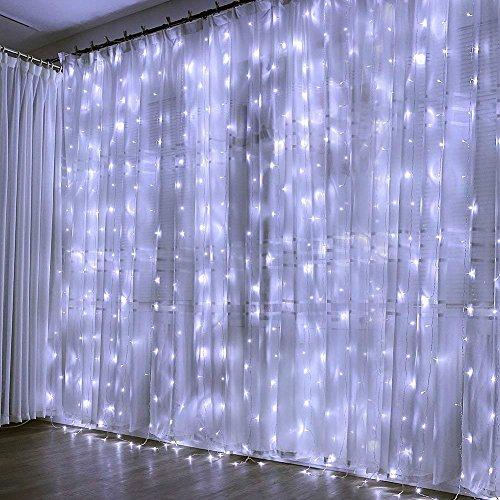 Cortina de Luces, 3×3㎡ Cable de Cobre 300 LED, Resistente al Agua, 31V, 8 Modos de Luz, Decoración de Navidad, Fiestas, Bodas, Jardín, Blanco Frío