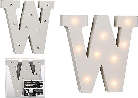 Blanc 1 W 16 x 3 x 16 cm OOTB 57//6093 Lettre avec LED Bois