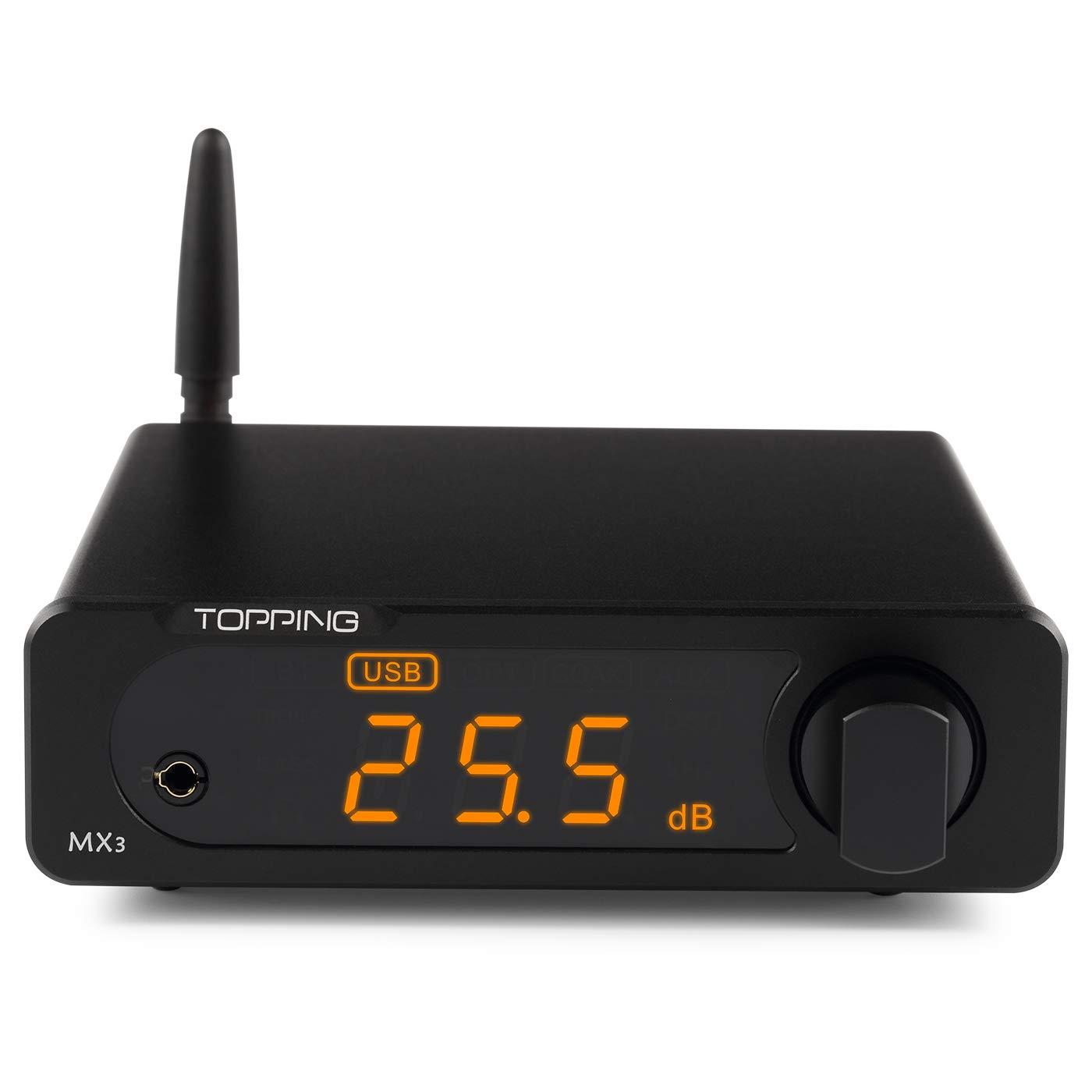 Topping MX3 TDA7498E Mini Multifunction Bluetooth Digital HiFi Headphone Amp Audio Amplifier 40w 2 USB Coaxial Fiber DAC Decoder Amplifiers(Black)