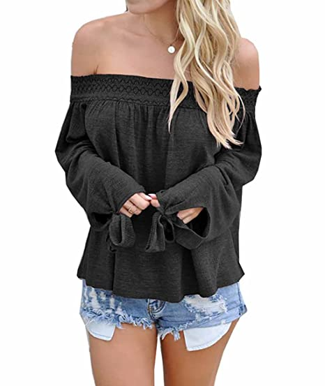 575de31ff35 Womens Sexy Loose Long Sleeve Off Shoulder Blouse Tops Shirt at Amazon  Women's Clothing store: