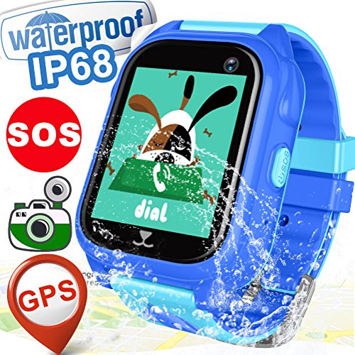 Kid Smart Watch Phone GPS Tracker IP68 Waterproof Fitness Tracker For Girls Boys Back To School Gift Game Sport Watch With SIM Pedometer SOS Camera For IOS/Android Swim Summer Travel Outdoor Birthday by Hyanwoo