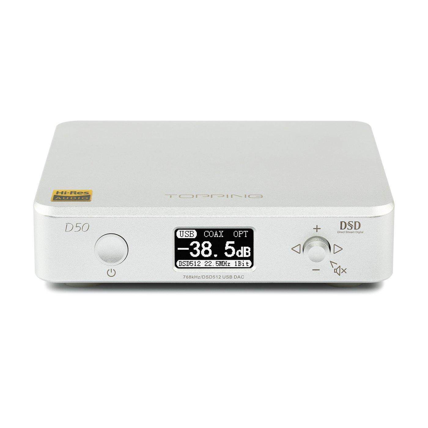 Topping D50 Mini HiFi Audio Decoding ES9038Q2M2 USB DAC XMOS XU208 DSD512 32Bit/768Khz OPA1612 USB/Opt/Coax Input