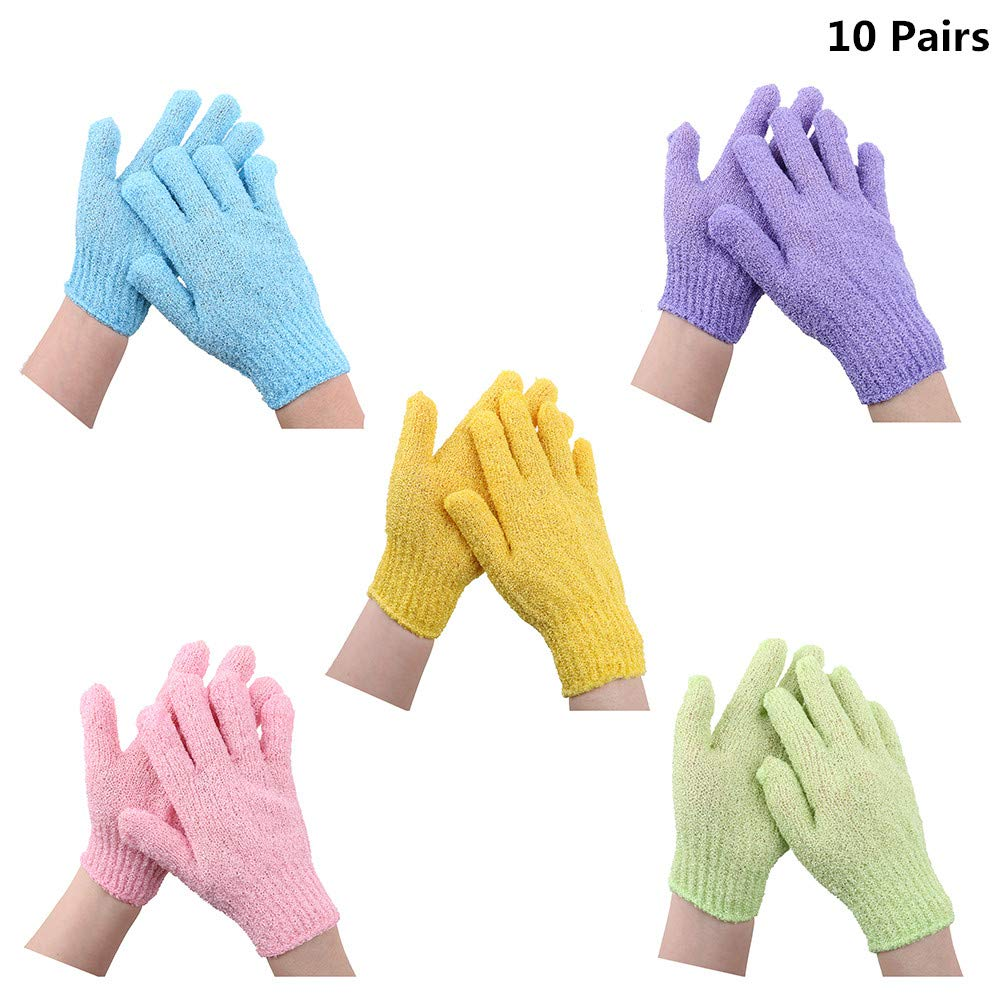 10 Pairs Exfoliating Bath Gloves Double Sided Scrubber Bath Gloves Polyester Shower Gloves for Men Women Kids, 5 Colors