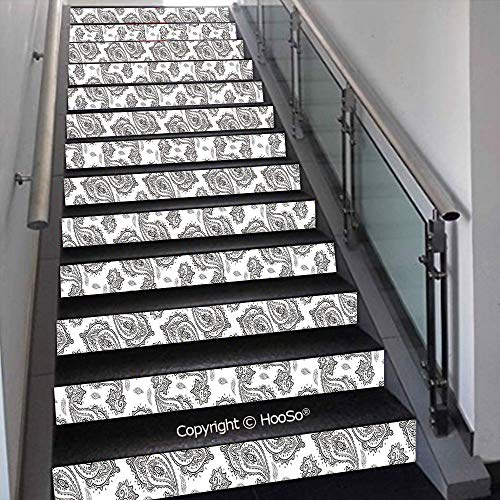 (Self-Adhesive Stair Risers Stickers Vinyl Staircase Stickers Stairway Decal Wallpaper, Waterproof, Anti-Stain,Tribal Ethnic Design Waves Zig Zag Chevron Border Stripes Pr,39.3