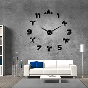 Weightlifting Fitness Room Wall Decor DIY Giant Wall Clock Mirror Effect Powerlifting Frameless Large Wall Clock Gym Wall Watch (Black)