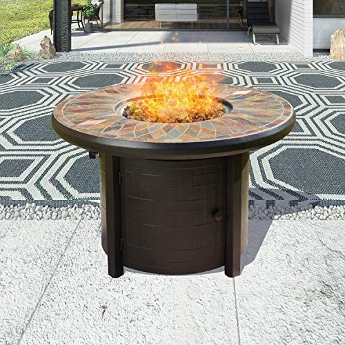 Top Space Propane Fire Pit Table Outdoor Gas Fire Table Patio Heater CSA Certification 50,000 BTU Auto-Ignition with Natural Slate Tile Tabletop, 42 Inch, Round, Bronze