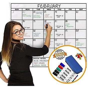 Amazon.com : Jumbo Dry Erase Laminated Wall Calendar, Huge