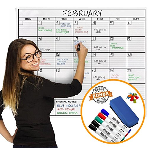 Jumbo Dry Erase Laminated Wall Calendar, Huge 24-Inch by 36-Inch Size, Monthly Planner for Home Office Classroom, Large Date Boxes, Reusable PET Film, Never Folded, Bonus 5 Markers, 8 Tacks, 1 Eraser -