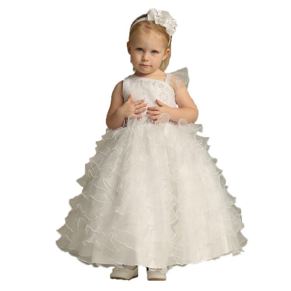 Little Girls One Shoulder Ruffle Sequin Flowers Girls Dresses White Size 5