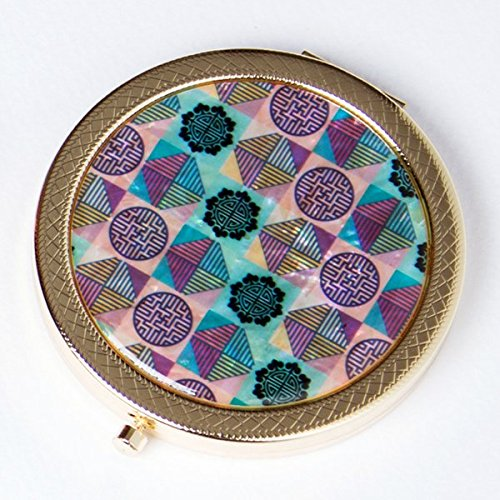 Mother of Pearl Korean Traditional Window Design Lattice Pattern Push Button Round Magnifying Double Compact Handbag Purse Makeup Cosmetic Pocket Hand Mirror - Traditional Lattice
