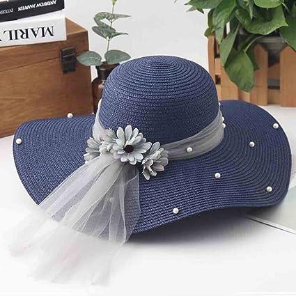 YXINY Sombreros de Sol Capucha Mujer Paja Sombrero de Verano Visera  Sombrero Sombrero Playa Sombrero Perla a57560a02f1b