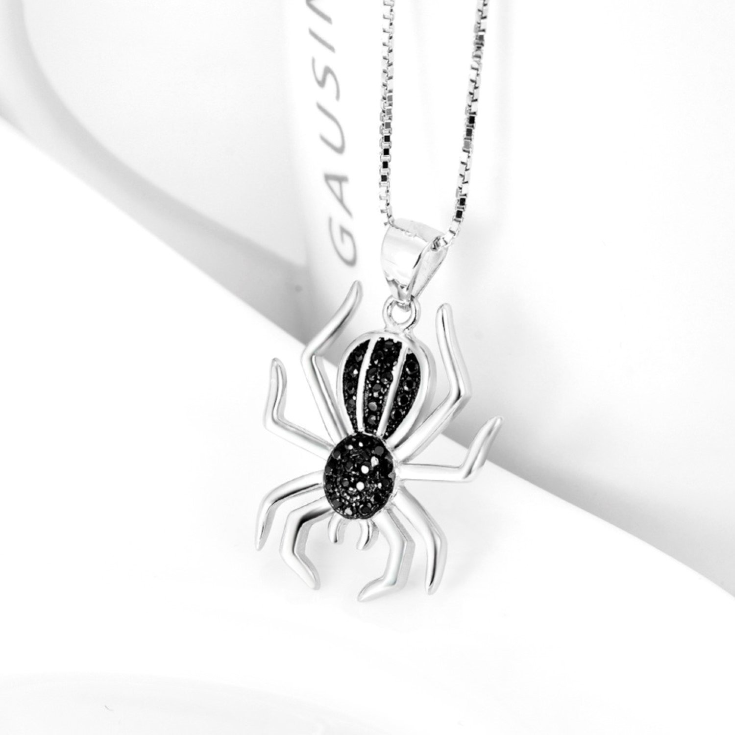 CS-DB Black/&White Crystal Lucky Spider Pendants Silver Necklaces