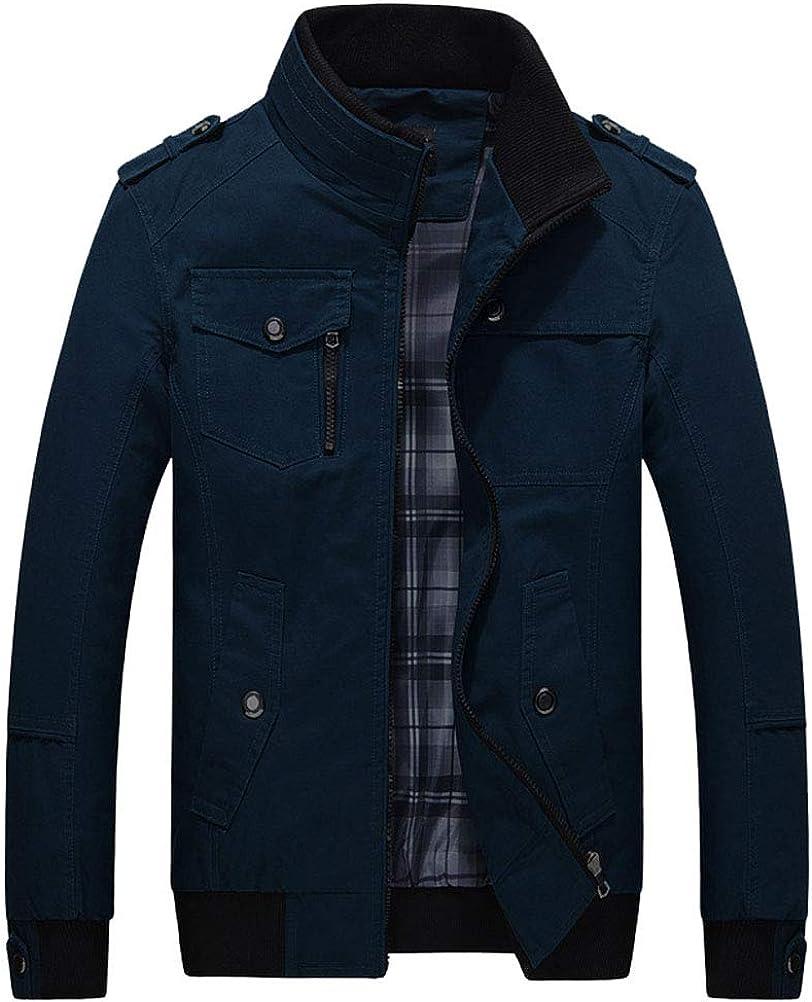 Hommes Debout Coupe-Vent col Mode Streetwear Classique Automne Confortable Court Manteau d'hiver Polyvalent Veste Pilote Casual Veste Jeune Garçons Bleu