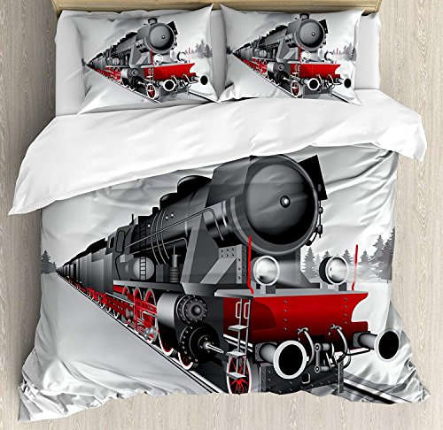 Steam Engine Comforter Set,Locomotive Red Black Train on Steel Railway Track Travel Adventure Graphic Print Bedding Duvet Cover Sets For Boys Girls Bedroom,Zipper Closure,4 Piece,Red Grey Twin Size by Our Wings
