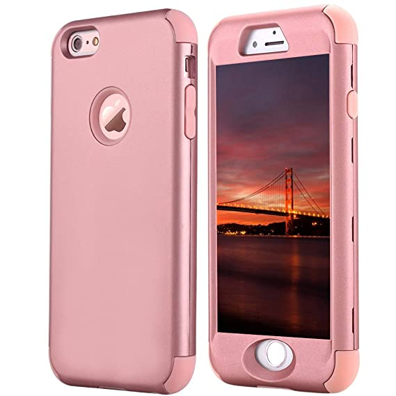 online store 75f4c 57c49 iPhone 6 Plus Case, JDBRUIAN 3-Pieces Heavy Duty Hybrid 360 Shockproof  Protective Case with Dual Layer Hard Plastic Cover and Soft Rubber Case for  ...