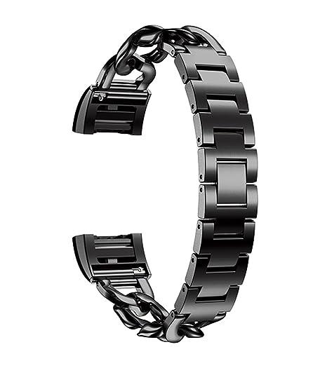 de alta calidad de acero inoxidable sólido correas de relojes inteligentes elegantes correas de reemplazo para Fitbit Charge 2 negro: Amazon.es: Relojes