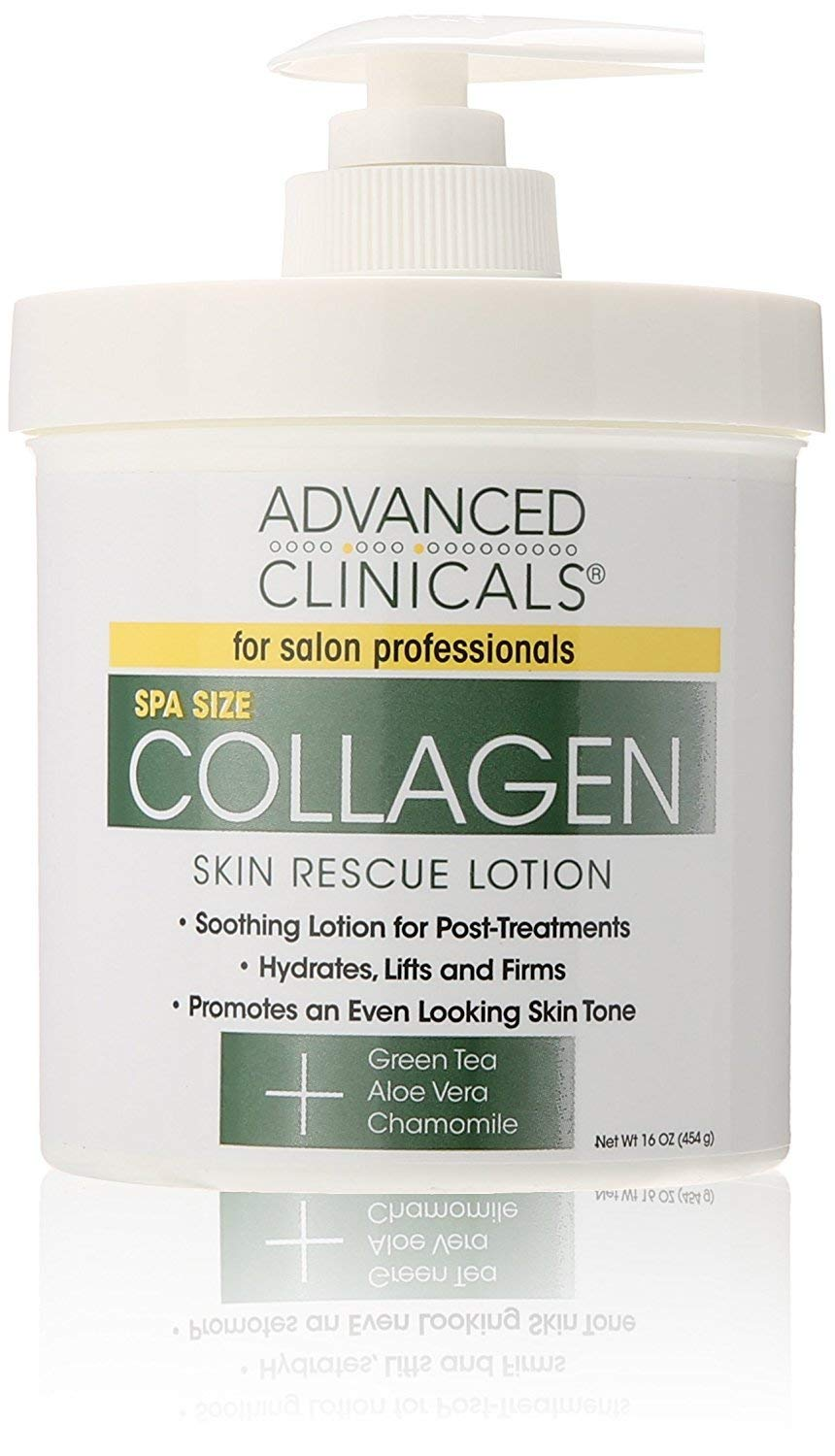 Advanced Clinicals Collagen Skin Rescue Lotion - Hydrate, Moisturize, Lift, Firm. Great for Dry Skin, 16 Ounce by Advanced Clinicals