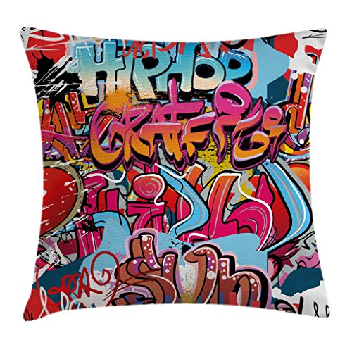 Ambesonne Graphic Throw Pillow Cushion Cover, Hip Hop Street Culture Harlem New York City Wall Graffiti Art Spray Artwork Image, Decorative Square Accent Pillow Case, 16″ X 16″, Pink Red