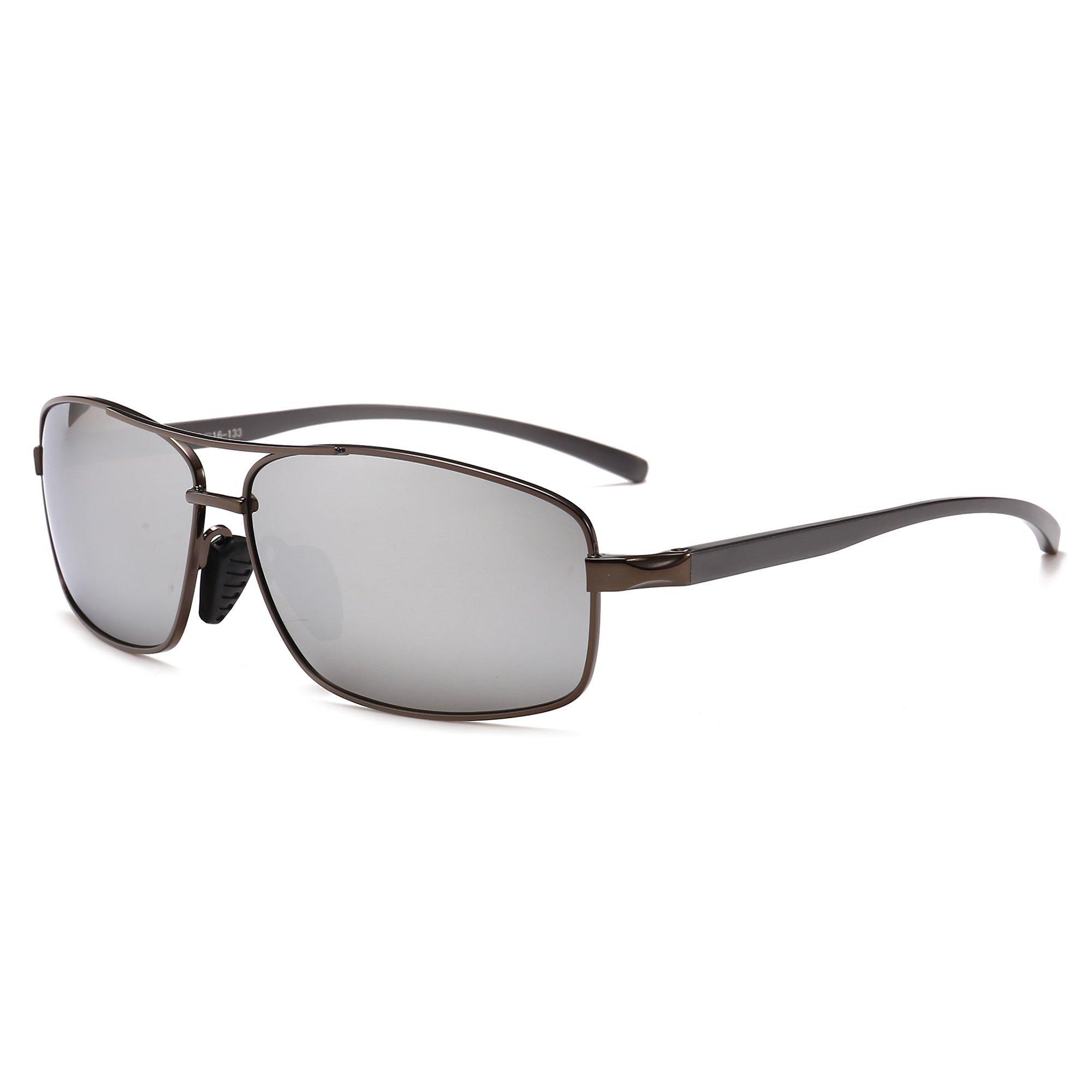 SUNGAIT Ultra Lightweight Rectangular Polarized Sunglasses 100% UV protection (Gunmetal Frame Sliver Mirror Lens, 62) Metal Frame 2458QKSY