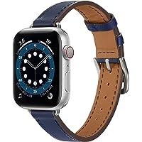 Danwon Pulseira de couro fina compatível com Apple Watch 38/40 mm 42/44 mm, pulseira ultrafina feminina de couro…