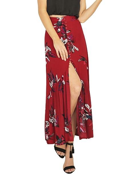 570e4b9b4f Simplee Apparel Las mujeres de cintura alta verano casual Boho maxi falda  de estampado floral Wrap cubierta de largo  Amazon.es  Ropa y accesorios