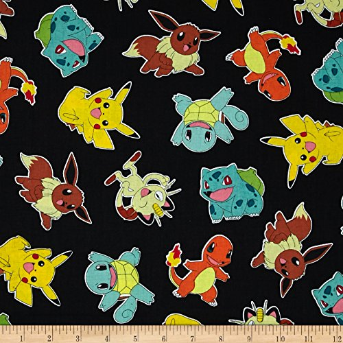 Poke'mon Tossed Jet Fabric By The (Pokemon Fabric)