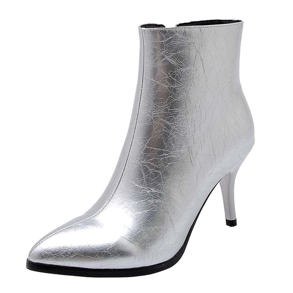 Dermanony Women's Fashion Boots Pure Color Thin Heels Ankle Boots Zipper Pointed Casual Party Boots Dress Shoes Silver by Dermanony _Shoes