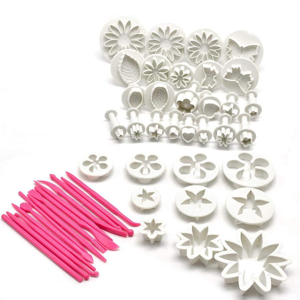 Pinsparkle Kitchen 47pcs Set Fondant Cake Biscuit Embossed Decoration Mold Set Sculpting & Modeling Tools