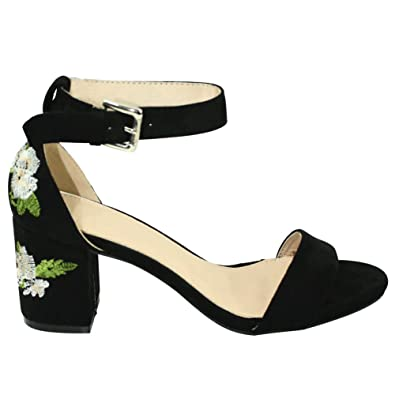 92e0d3dd5f Amazon.com | Summer Season Special Olivia Floral Embroidered Block Heel  Pumps Sandals with Ankle Strap for Women (Assorted Colors) | Heeled Sandals