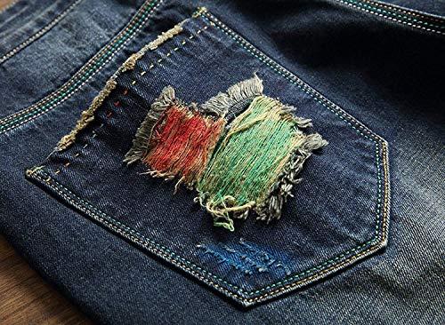 Cómodo Cintura La Ocasionales Destruidos Vaqueros Azul Media Pantalones Del Sin Battercake Algodón Los Rectos De Hombres Dril Pretina qwv4O0qYx6