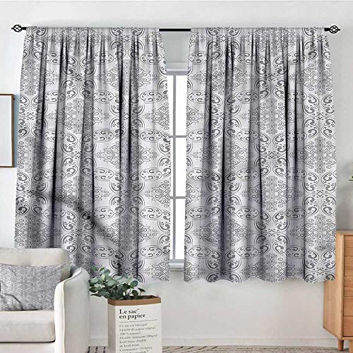 (Grey,Boy's Iving Room Curtain Victorian Regency Tile 104