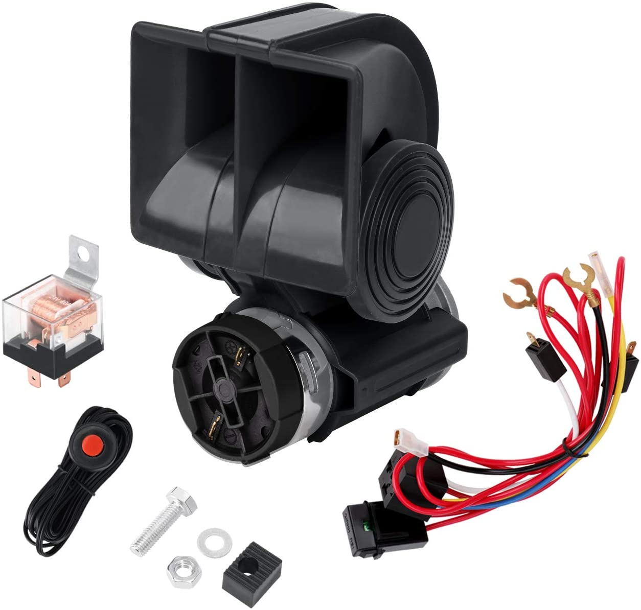 Amazon Com Seineca Air Car Horn 12v Compact With Compressor Automotive Relay Mini Nautilus Super Loud Snail Horn Kit For Truck Car Motorcycle 12v Black With Switch Automotive
