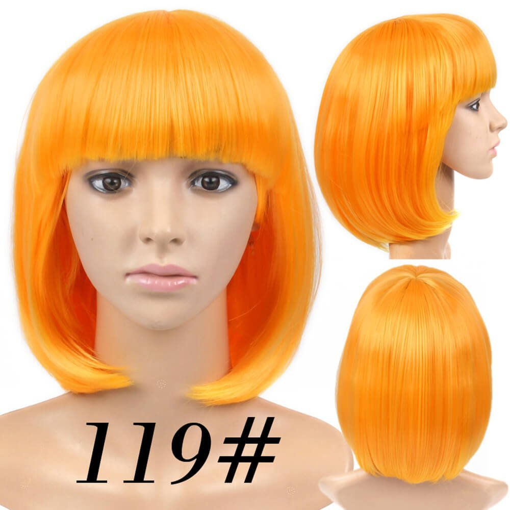 Amazon.com : Best Short Bob Wig Light Orange Color #119 With Bangs for Women Full Head Colorful Cosplay Daily Party Anime Cheap Synthetic Wigs Straight Real ...