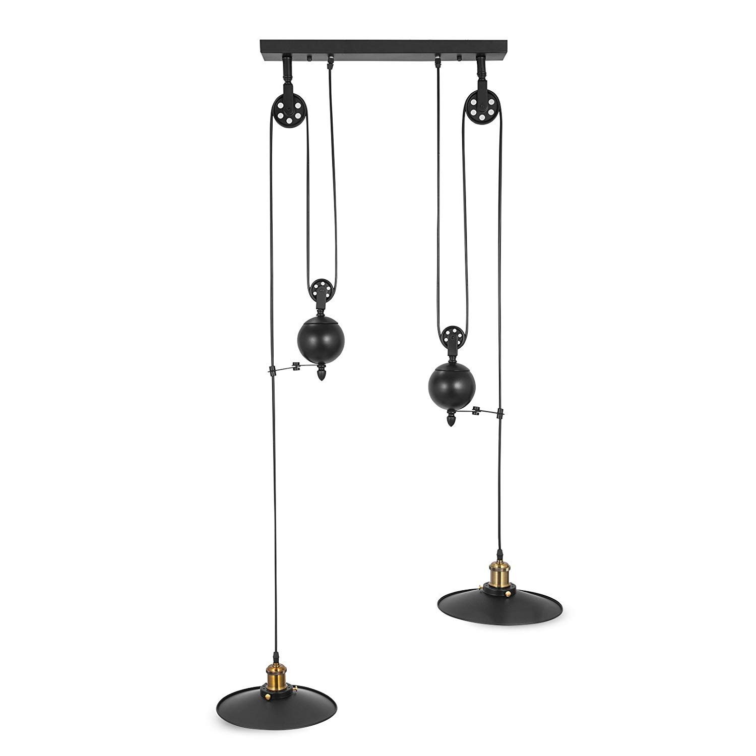 OrangeA Pulley Pendant Light 19.7'' Dia x 36.3'' H Vintage Ceiling Lamp 39'' Adjustable Cable Retractable Hanging Pendant Light Without Plug in Cord for 15-20㎡ Room