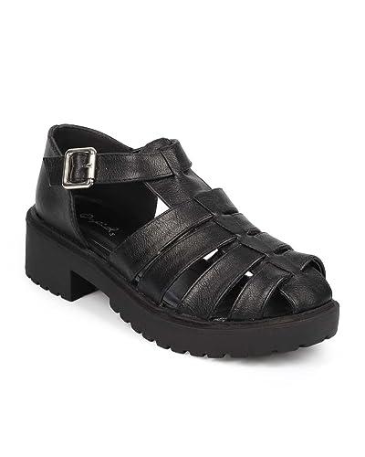 3ea5ce5af286 Qupid Women Leatherette Ankle Strap Platform Chunky Heel Fisherman Sandal  DB49 - Black (Size