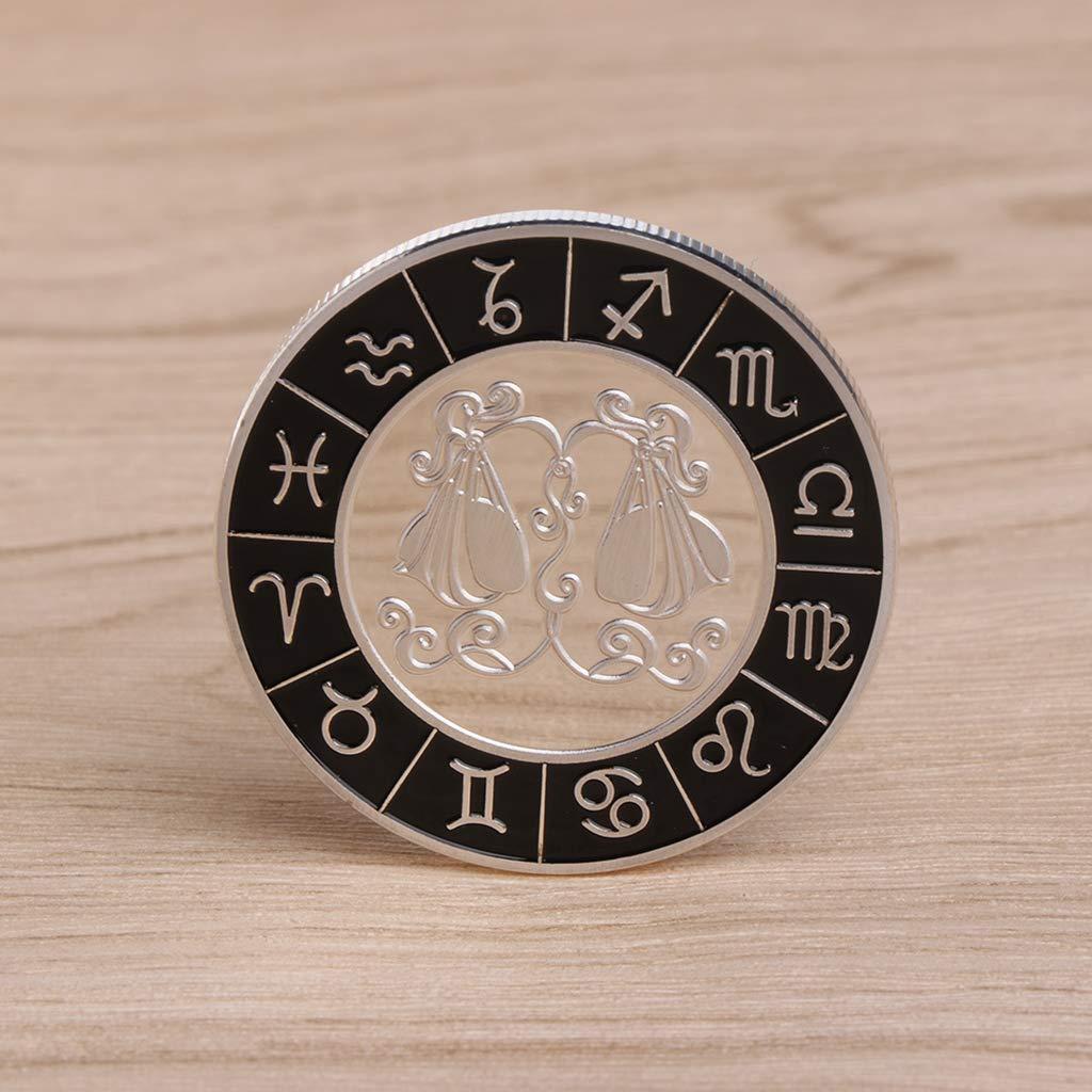 Amarzk Commemorative Coin Plated Silver Constellation Libra For Souvenir Art Collection