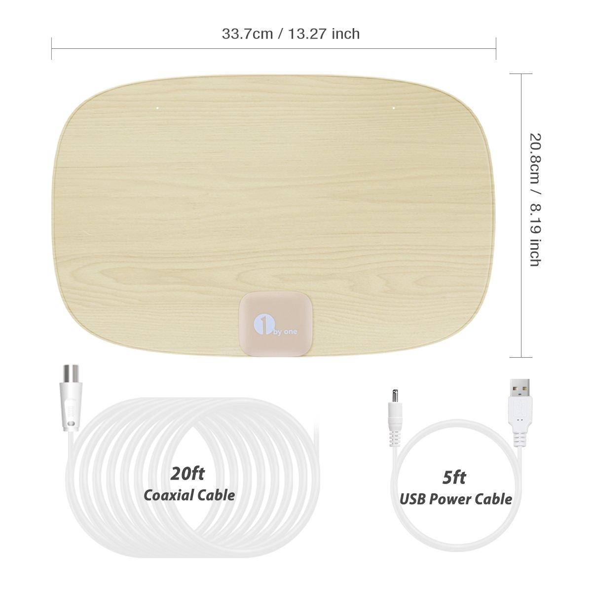 VHF//UHF//FM C/âble Coaxial 5 M/ètres et C/âble USB d/'1.5 M/ètre 1byone Antenne TNT TV Digitale d/'Int/érieur avec Antenne HDTV et Amplificateur de Signal Dernier Cri Antenne A/érienne Design Minimaliste