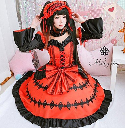 [milky time] 가발 포함 ★ 데이트 어 라이브 DATE A LIVE 時崎 광 세 코스프레 의상 드레스
