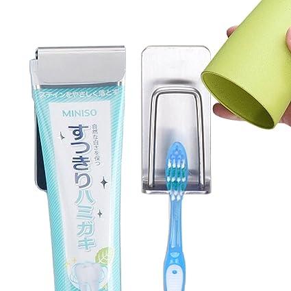 Cuarto de baño Pasta de dientes y cepillo de dientes soporte autoadhesivo con vasos para baño