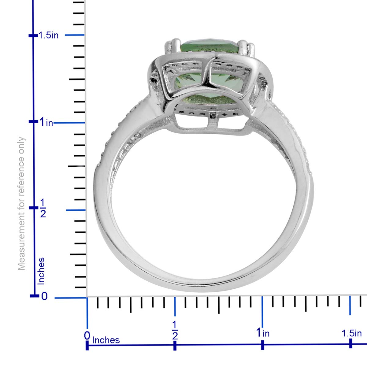 Green Cubic Zirconia CZ Halo Ring White Gold Plated Gift Jewelry for Women Jewelry Gift Cttw 3.4