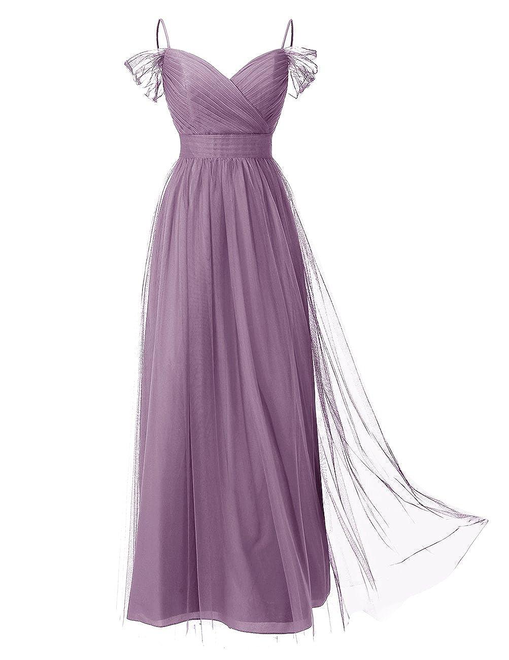 Downton Abbey Inspired Dresses DRESSTELLS Long Prom Dress Tulle Off Shoulder Bridesmaid Dress with Pleat $79.99 AT vintagedancer.com