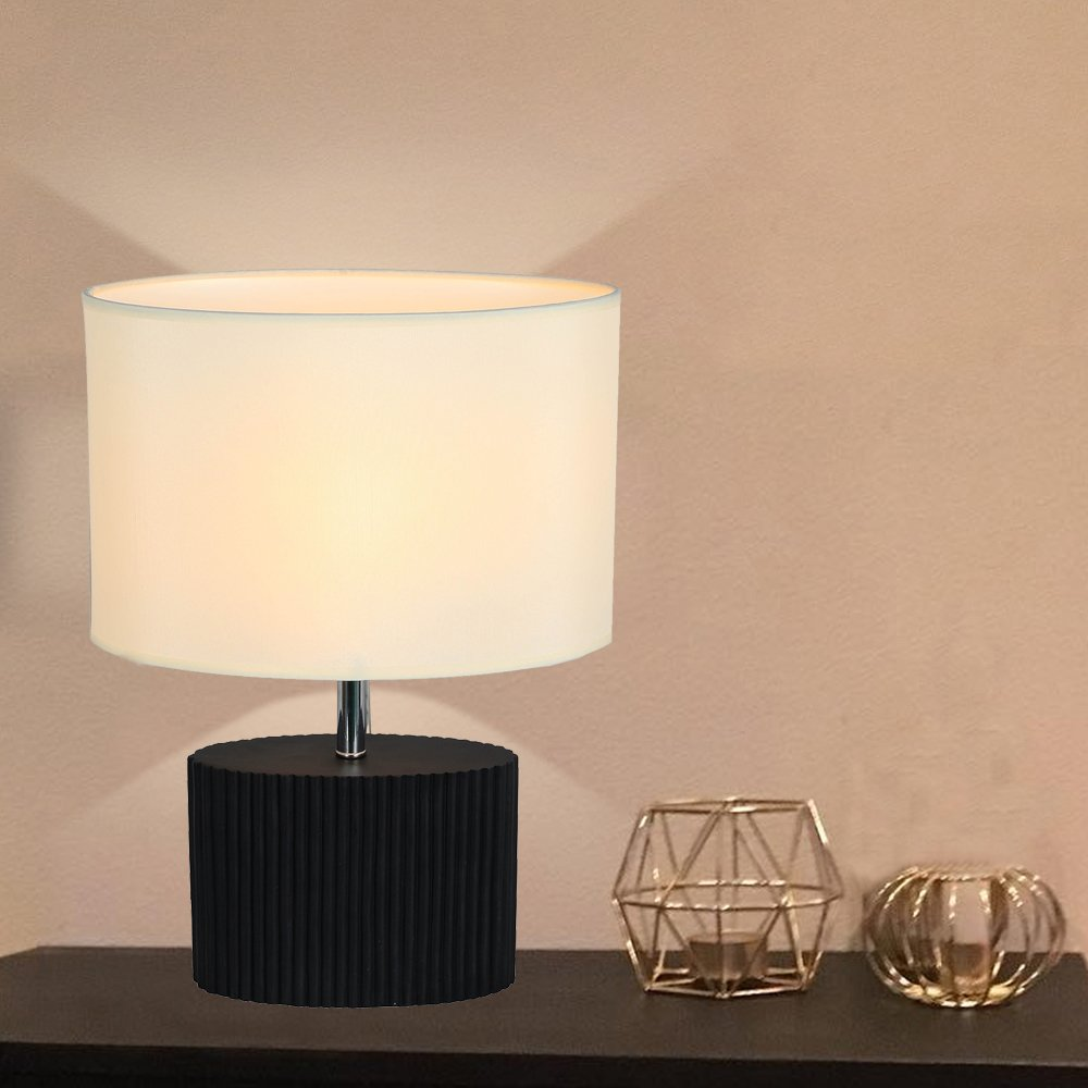 Decorative Table Lamp, HOMPEN Bedside Desk Lamp with Black Resin Base and Fabric Shade, Night Light for Living Room, Bedroom, Dresser, College Dorm-White