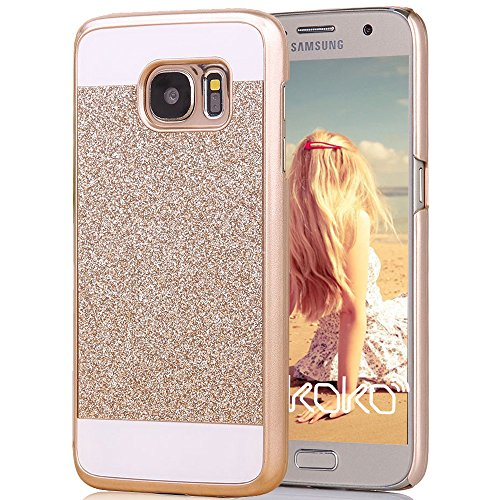 Galaxy S7 Case, Imikoko™ Rose Gold Luxury Hybrid Beauty Crystal Rhinestone With Gold Sparkle Glitter PC Hard Protective Diamond Case Cover For Samsung Galaxy S7 (Gold)
